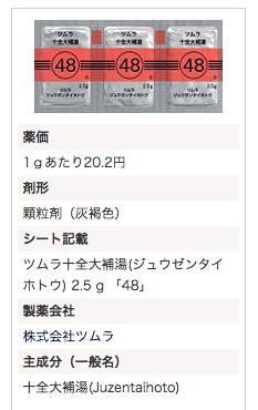 ツムラ十全大補湯エキス顆粒(医療用)